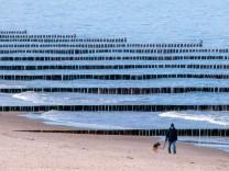 Einsamer Spaziergänger mit Hund am Strand der Ostseeinsel Usedom