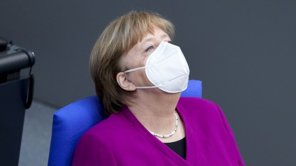 218. Bundestagssitzung - Debatte und Sitzung Aktuell, 25.03.2021, Berlin, Angela Merkel die Bundeskanzlerin der Bundesr