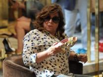 Milan Patrizia Reggiani shopping in the center Patrizia Reggiani widow Gucci arrives downtown wit