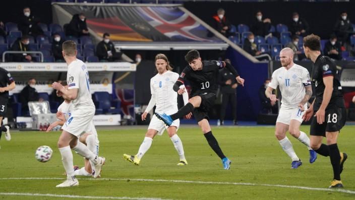 Kai Havertz (Deutschland, Germany) zieht ab - 25.03.2021: WM-Qualifikationsspiel Deutschland gegen Island, Schauinsland; Fußball