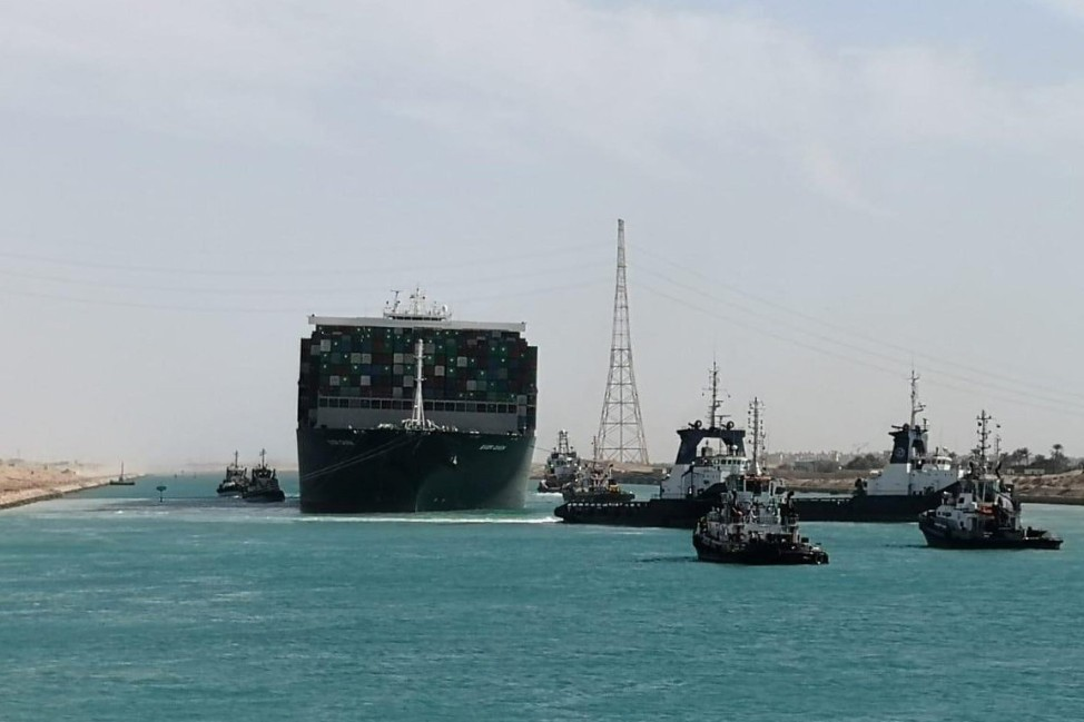 Ship Ever Given, one of the world's largest container ships, is seen after it was fully floated in Suez Canal
