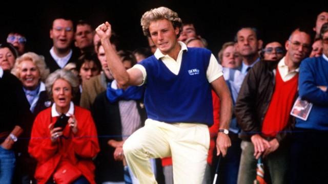 Bernhard Langer Golf 1985 in Bremen Siegerjubel Bremen Deutschland *** Bernhard Langer Golf 1985