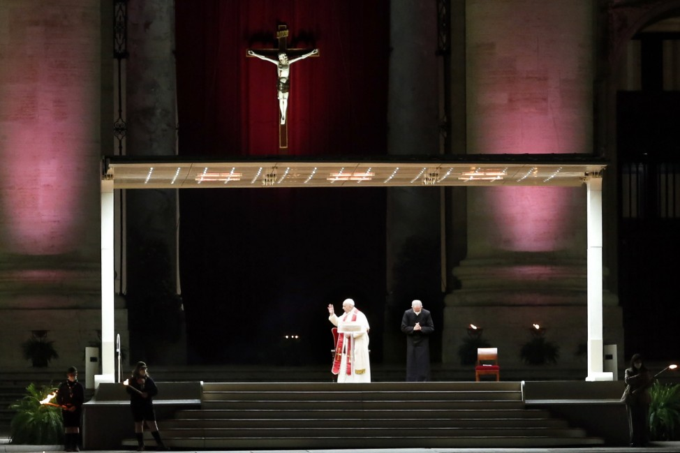 Pope Francis (Jorge Mario Bergoglio) celebrates the Via Crucis in an almost deserted St Peter s Square, Piazza San Pietr