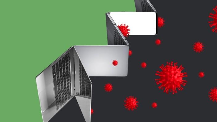 Apps gegen Corona: Eine digitale Brandmauer gegen die Pandemie? Wissenschaftler sind skeptisch. Illustration: Stefan Dimitrov