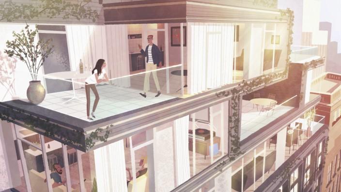 Frau und Mann treffen sich auf der Dachterrasse eines Luxus Penthouses auf einem modernen Wohnblock