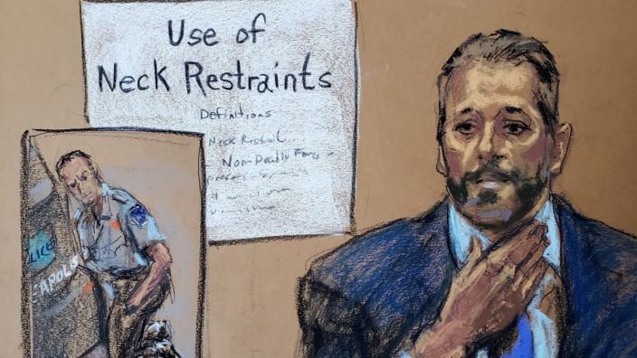 George-Floyd-Prozess: Eine Gerichtszeichnung zeigt einen Polizeileutnant bei seiner Aussage