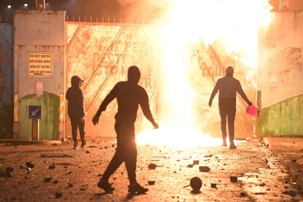 BESTPIX- Loyalist Protest Turns Violent At Belfast Peace Line