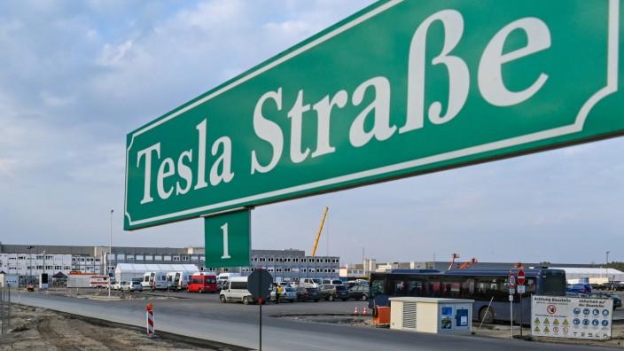 Baugelände der Tesla Gigafactory in Brandenburg