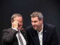 Armin Laschet und Markus SËÜder Leipzig, 22.11.2019: 32. Bundesparteitag der CDU Deutschlands. MinisterprâÄ°sident des Lan