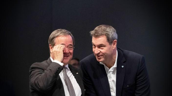 CDU/CSU: Armin Laschet und Markus Söder 2019 auf dem CDU-Bundesparteitag in Leipzig