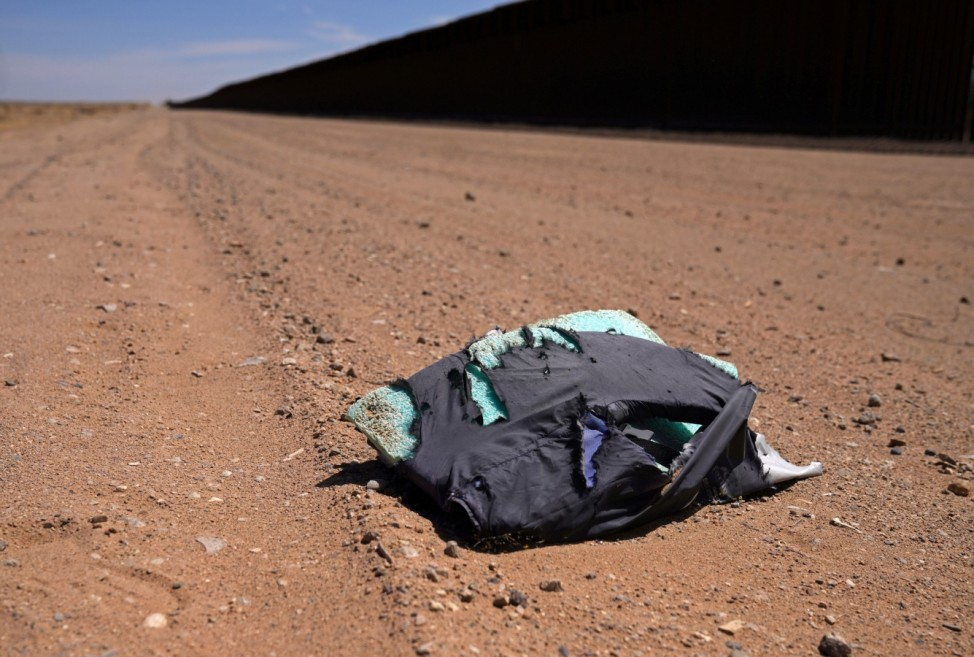 A life jacket left behind by migrants is seen in Calexico
