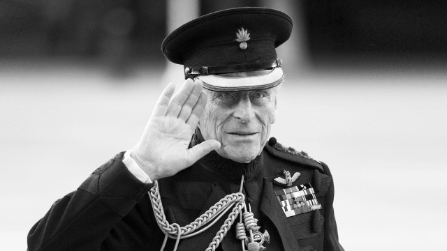 FILE PHOTO: Britain's Prince Philip arrives on the eve of his birthday to take the salute of the Household Division Beating Retreat on Horse Guards Parade in London