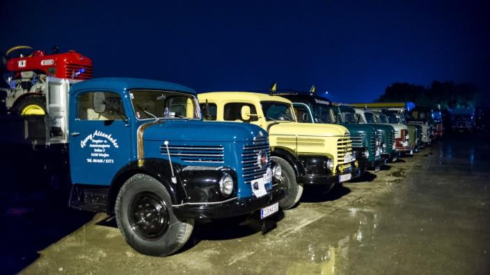 vintage car st.valentin, austria, 01 sep 2017, vintage steyr trucks at an oldtimer truck meeting, meeting for vintage tr