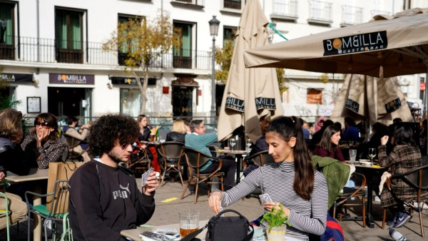 FILE PHOTO: French flock to Madrid bars and cafes seeking pandemic reprieve