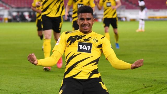 Fussball 1. Bundesliga Saison 2020/2021 28. Spieltag VfB Stuttgart - Borussia Dortmund 10.04.2021 JUBEL Borussia Dortmu