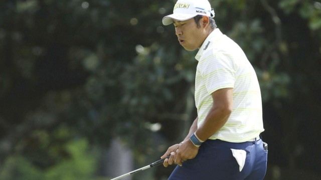 Golf: Masters Tournament Hideki Matsuyama of Japan reacts after missing a par putt on the first green during the final r