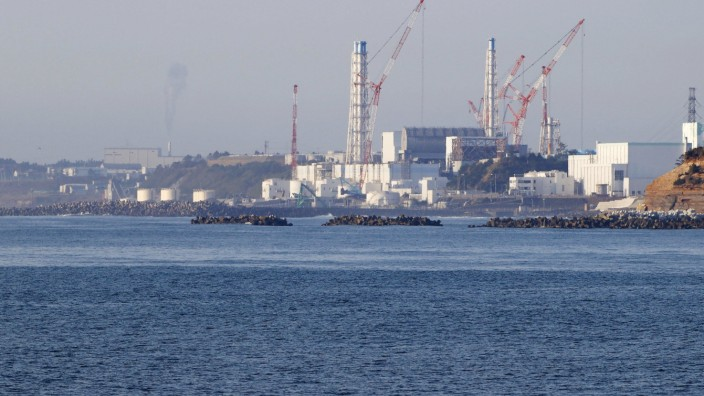 Crippled Fukushima Daiichi nuclear power plant Photo taken April 12, 2021, from the Fukushima Prefecture town of Namie,