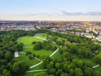 Germany, Bavaria, Munich, Aerial view of Monopteros and English Garden at dawn SIEF09998