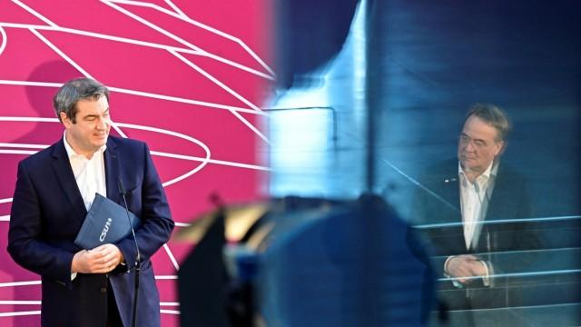CDU-Chef Armin Laschet und CSU-Chef Markus Söder bei einer PK in Berlin