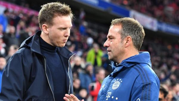 Julian Nagelsmann und Hansi Flick vor dem Spiel FC Bayern München gegen RB Leipzig