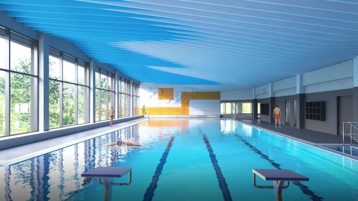 Ebersberg, Hallenbad, Simulation Schwimmhalle, Schwimmbad, Schwimmen, Bad, Schwimm, Halle,