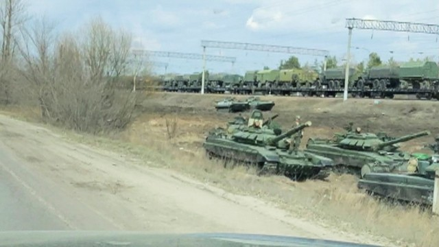 A still image from video shows tanks and military vehicles in Voronezh Region