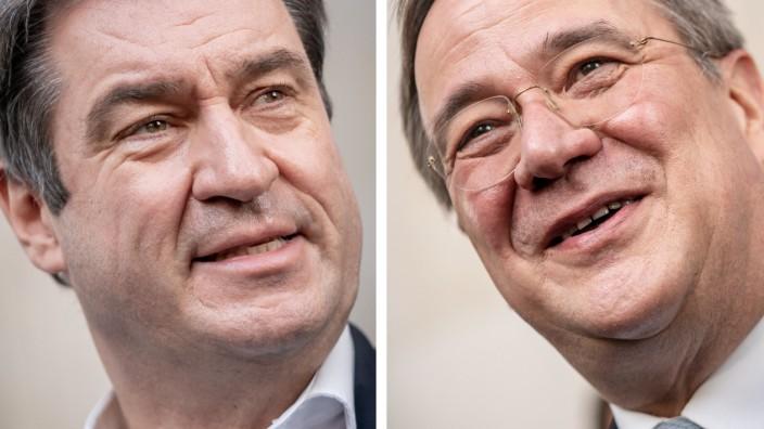 Wer wird Kanzlerkandidat der Union? Markus Söder (l.) baut seinen Vorsprung in Umfragen aus, Armin Laschet fällt weiter ab.