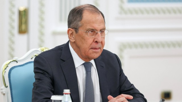 NUR-SULTAN, KAZAKHSTAN - APRIL 8, 2021: Russia s Foreign Minister Sergei Lavrov during a meeting with Kazakhstan s Pres