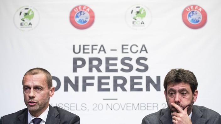 Andrea Agnelli von Juventus Turin und Uefa-Chef Aleksander Ceferin