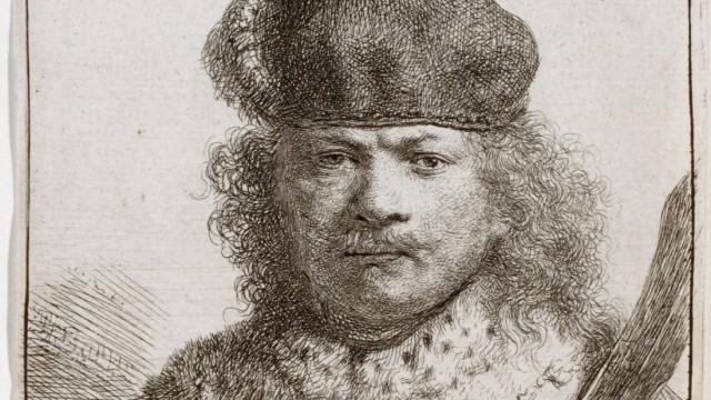 "Rembrandt Harmensz van Rijn (1606âÄ""1669); Selbstbildnis mit Säbel; 1634"