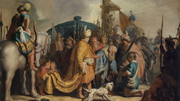 Rembrandt Harmensz. van Rijn; David übergibt Goliaths Haupt dem König Saul; 1627