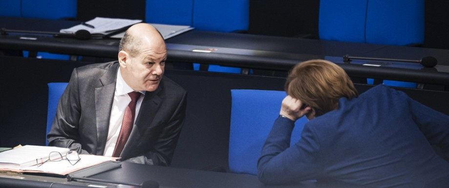 Bundesfinanzminister Olaf Scholz, SPD und Bundeskanzlerin Angela Merkel, CDU
