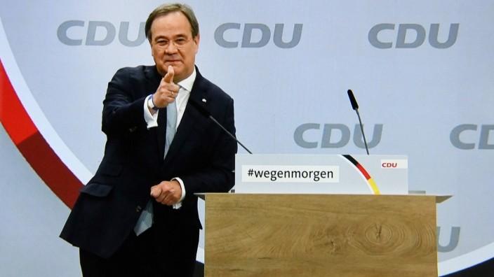 Deutschland, Berlin , 16.01.2021 CDU-Parteitag Foto: Armin Laschet bei seiner Rede CDU-Parteitag *** Germany, Berlin ,