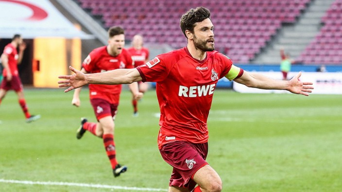 (210421) -- COLOGNE, April 21, 2021 () -- Jonas Hector of Koeln celebrates his second goal during a German Bundesliga ma