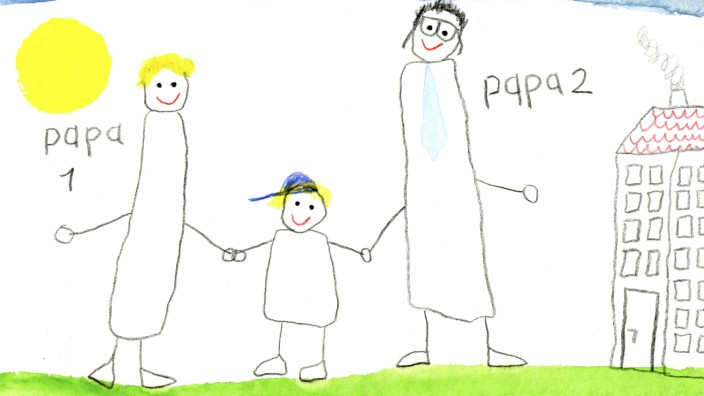 Children s drawing of gay couple with son property released PUBLICATIONxINxGERxSUIxAUTxHUNxONLY CMF0