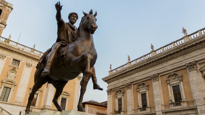 Marcus Aurelius statue on Piazza del Campidoglio in Rome, Italy (boggy)