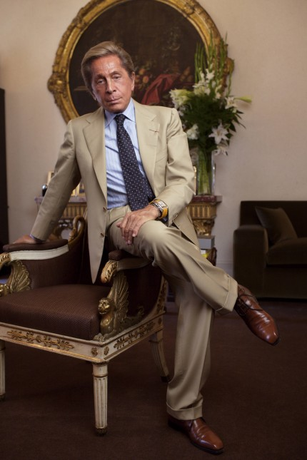 Valentino in his office the year he celebrated 45 years of fashion and stepped down as the designe