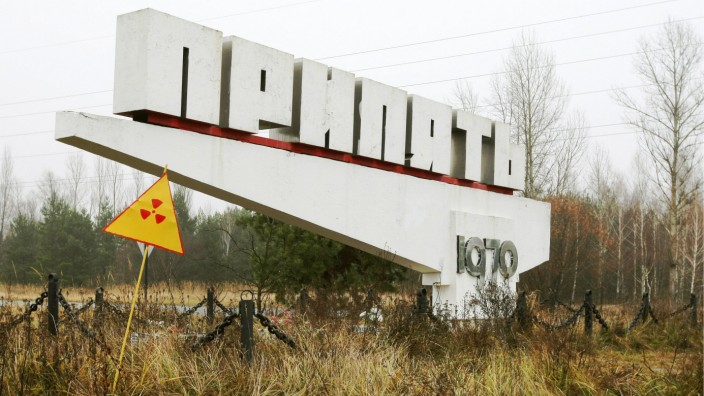 PRIPYAT UKRAINE Pictured in this file image is a stele at an entrance to the city of Pripyat near