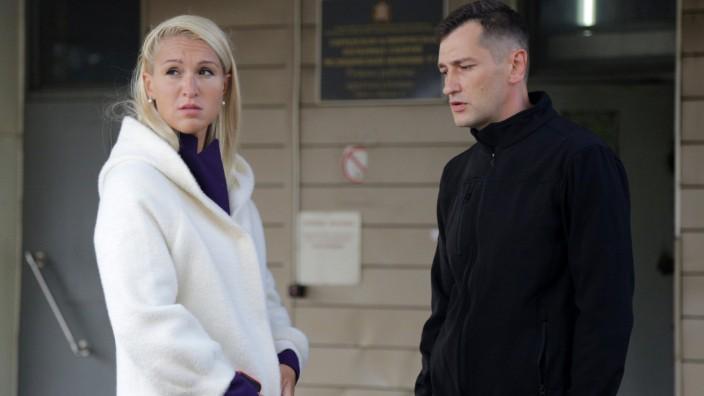 OMSK, RUSSIA - AUGUST 21, 2020: Navalny s doctor Anastasia Vasilyeva (L) talks to his brother Oleg outside Omsk Ambulan