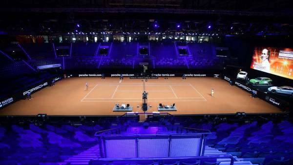 Stuttgart , Porsche Tennis Grand Prix Stuttgart 2021 , Übersicht Posche Arena *** Stuttgart , Porsche Tennis Grand Prix