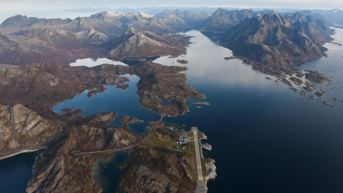Aerial view of Svolvaer airport amd Austnesfjorden viewed from air Vagan municipality Austvagoy