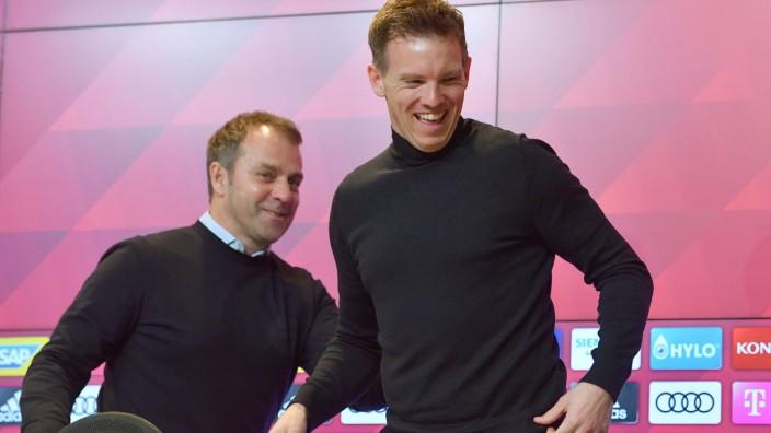 Bundesliga: Julian Nagelsmann und Hansi Flick bei einer Pressekonferenz