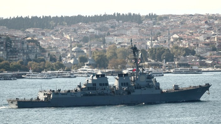 FILE PHOTO: U.S. Navy Arleigh-Burke class destroyer USS Roosevelt (DDG 80) sets sail in Istanbul's Bosphorus