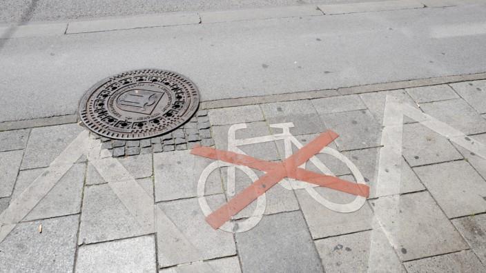 Parkverbot für Fahrräder zur Zeit der Corona-Krise in München, 2020