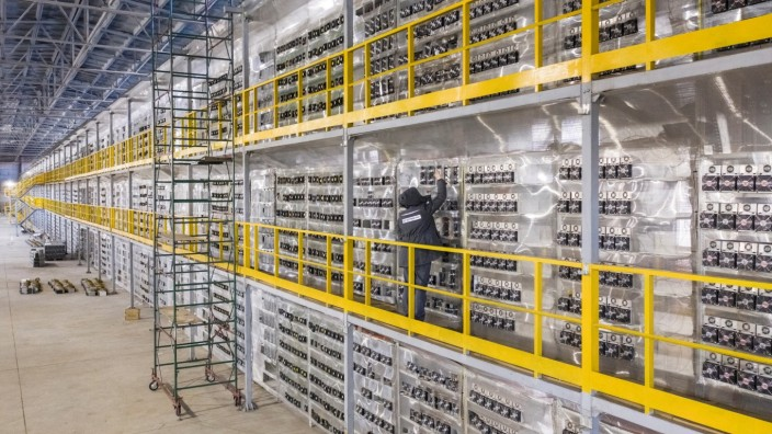 A view shows the data centre of BitRiver company providing services for cryptocurrency mining in Bratsk