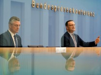German Health Minister Jens Spahn and Lothar H. Wieler president of the Robert-Koch-Institute German national agency and research institute attend a press conference on the current coronavirus pandemic