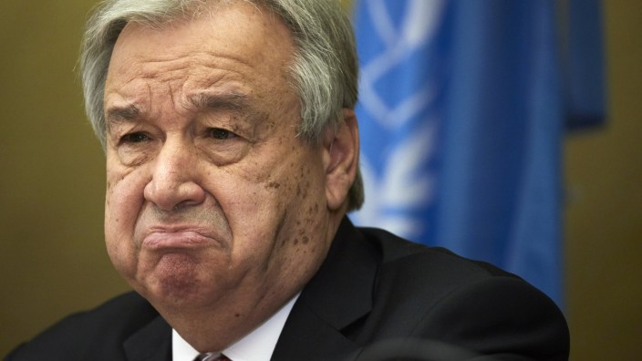 UN Secretary-General Guterres attends a news conference after a 5+1 Meeting on Cyprus in Geneva