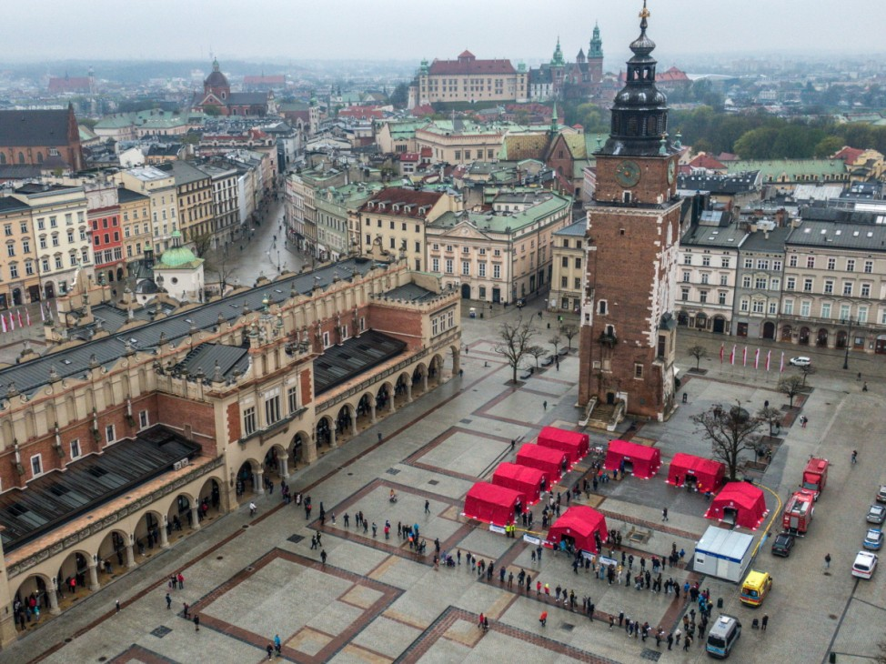 Krakow's UNESCO Listed Main Square Becomes Covid-19 Vaccination Point