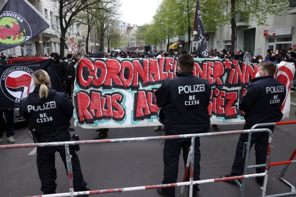 Protest against government measures to curb the spread of COVID-19, in Berlin
