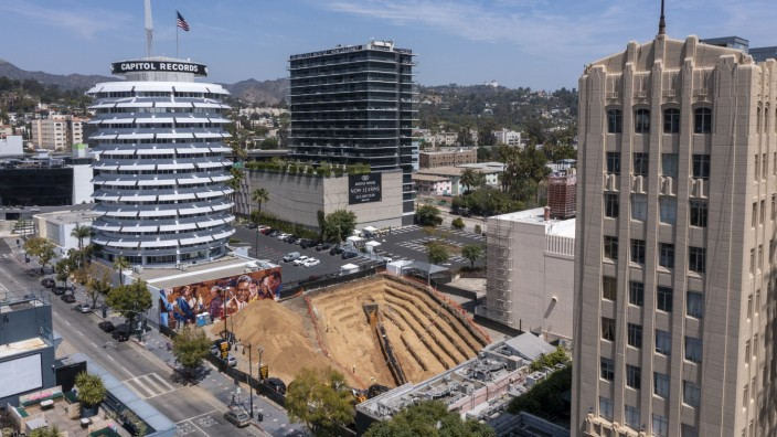 A giant trench is being dug next door to the Capitol Records